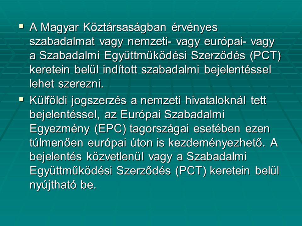  A Magyar Köztársaságban érvényes szabadalmat vagy nemzeti- vagy európai- vagy a Szabadalmi Együttműködési Szerződés (PCT) keretein belül indított sz