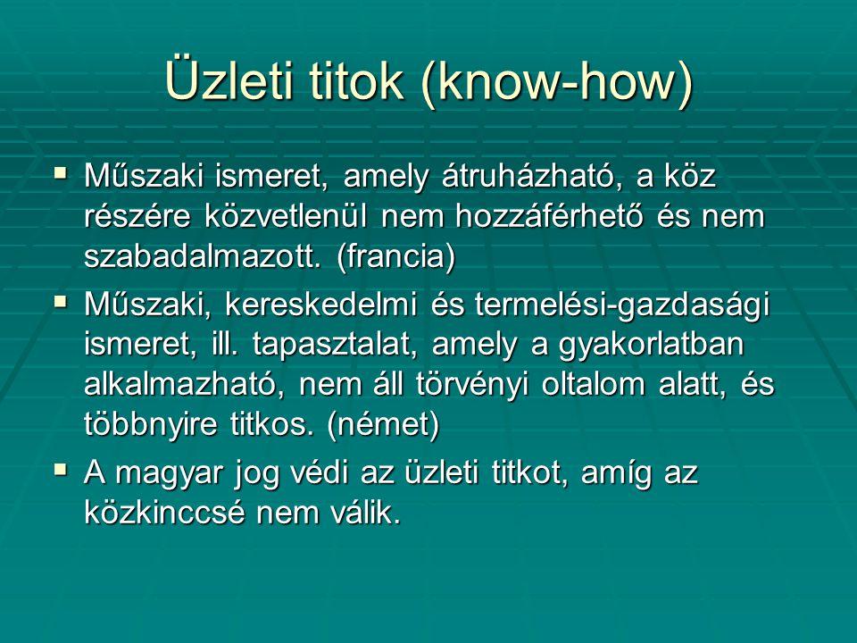 Üzleti titok (know-how)  Műszaki ismeret, amely átruházható, a köz részére közvetlenül nem hozzáférhető és nem szabadalmazott. (francia)  Műszaki, k
