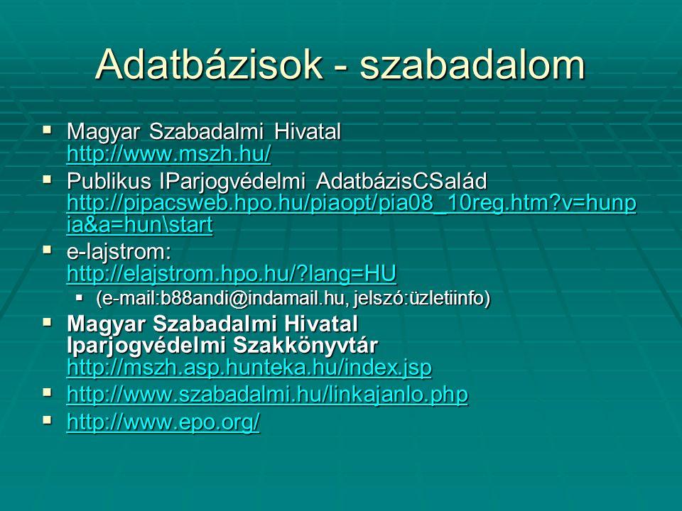 Adatbázisok - szabadalom  Magyar Szabadalmi Hivatal http://www.mszh.hu/ http://www.mszh.hu/  Publikus IParjogvédelmi AdatbázisCSalád http://pipacswe