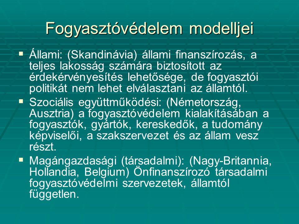 Fogyasztóvédelem modelljei   Állami: (Skandinávia) állami finanszírozás, a teljes lakosság számára biztosított az érdekérvényesítés lehetősége, de f