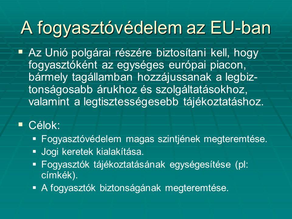 A fogyasztóvédelem az EU-ban   Az Unió polgárai részére biztosítani kell, hogy fogyasztóként az egységes európai piacon, bármely tagállamban hozzáju