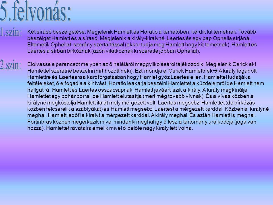 Szereplők: Claudius: Dánia királya Hamlett: az előbbi király fia, a mostaniak unokaöccse Horatio: Hamlett barátja Polonius: főkamarás Laertes: Polonius fia Voltimand: udvarfi Cornelius: udvarfi Rosencrantz: udvarfi Guildenstern: udvarfi Osrick: udvaronc Pap Más udvaronc Marcellus és Bernardo: tisztek Francisco: katona Rajnáld: Polonius embere Egy százados Követek Hamlett atyja szelleme Fortinbras: Norvég királyfi Két sírásó Gertrud: Dán királyné, Hamlett anyja Ophelia: Polonius leánya