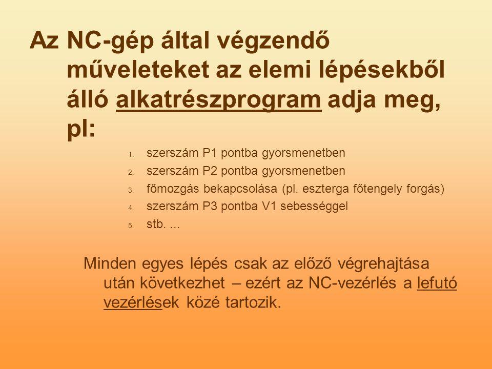 Az NC-gép által végzendő műveleteket az elemi lépésekből álló alkatrészprogram adja meg, pl: 1.
