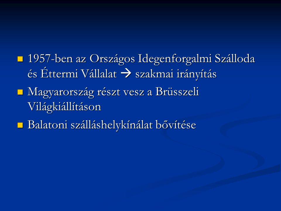 1957-ben az Országos Idegenforgalmi Szálloda és Éttermi Vállalat  szakmai irányítás 1957-ben az Országos Idegenforgalmi Szálloda és Éttermi Vállalat  szakmai irányítás Magyarország részt vesz a Brüsszeli Világkiállításon Magyarország részt vesz a Brüsszeli Világkiállításon Balatoni szálláshelykínálat bővítése Balatoni szálláshelykínálat bővítése