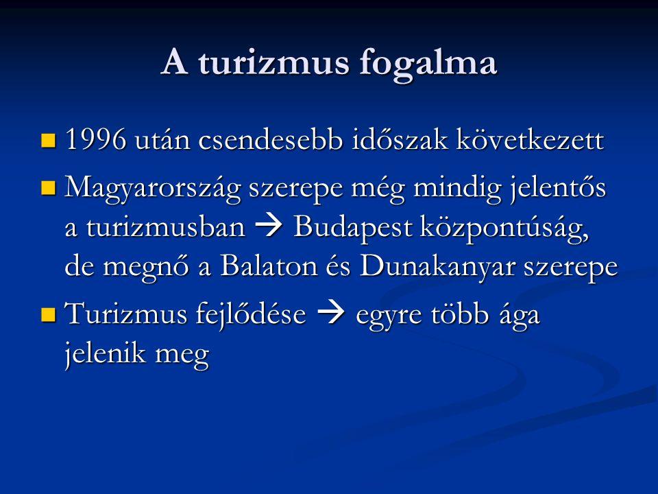 A turizmus fogalma 1996 után csendesebb időszak következett 1996 után csendesebb időszak következett Magyarország szerepe még mindig jelentős a turizm