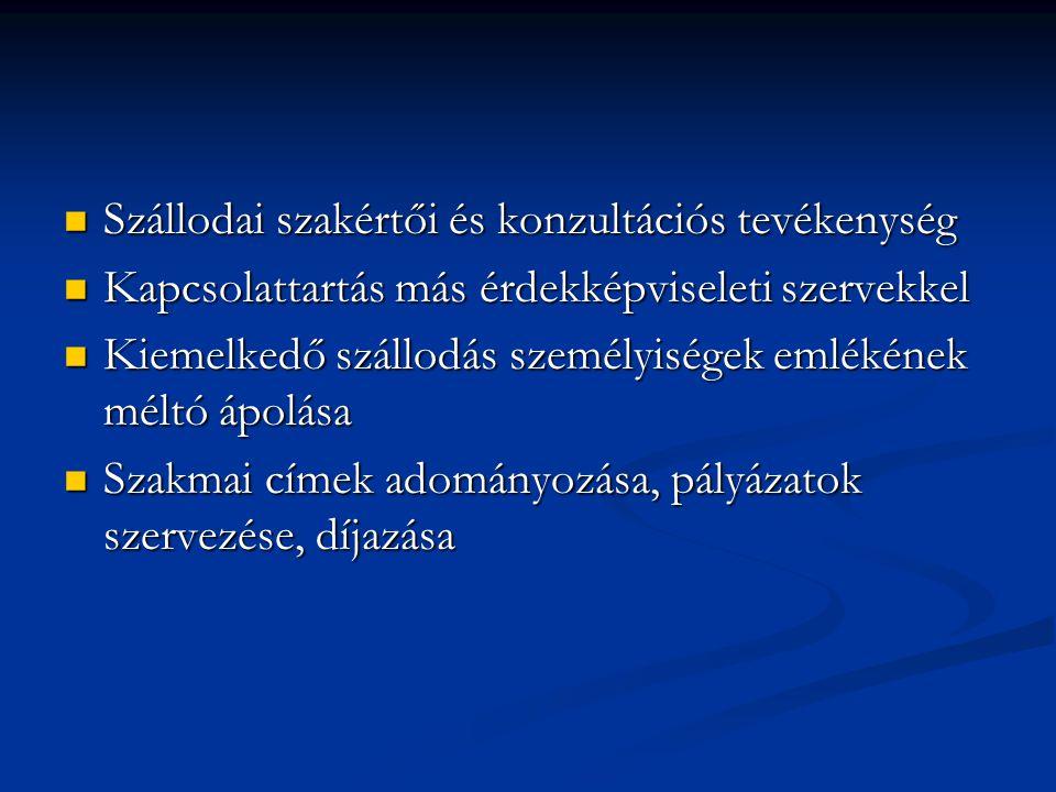 Szállodai szakértői és konzultációs tevékenység Szállodai szakértői és konzultációs tevékenység Kapcsolattartás más érdekképviseleti szervekkel Kapcso