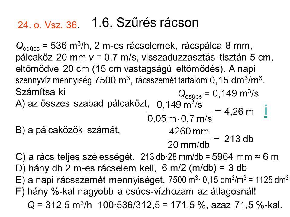 1.6. Szűrés rácson Q csúcs = 536 m 3 /h, 2 m-es rácselemek, rácspálca 8 mm, pálcaköz 20 mm v = 0,7 m/s, visszaduzzasztás tisztán 5 cm, eltömődve 20 cm