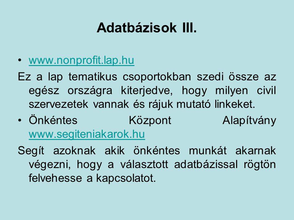 Adatbázisok III.