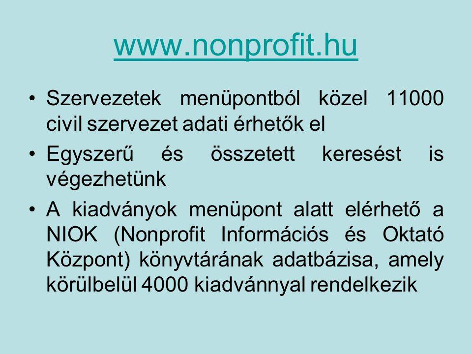 www.nonprofit.hu Szervezetek menüpontból közel 11000 civil szervezet adati érhetők el Egyszerű és összetett keresést is végezhetünk A kiadványok menüpont alatt elérhető a NIOK (Nonprofit Információs és Oktató Központ) könyvtárának adatbázisa, amely körülbelül 4000 kiadvánnyal rendelkezik