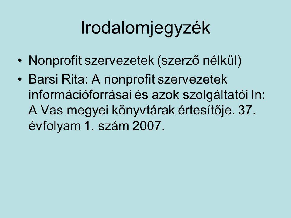 Irodalomjegyzék Nonprofit szervezetek (szerző nélkül) Barsi Rita: A nonprofit szervezetek információforrásai és azok szolgáltatói In: A Vas megyei könyvtárak értesítője.