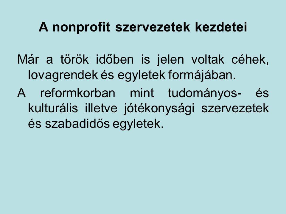 A nonprofit szervezetek kezdetei Már a török időben is jelen voltak céhek, lovagrendek és egyletek formájában.