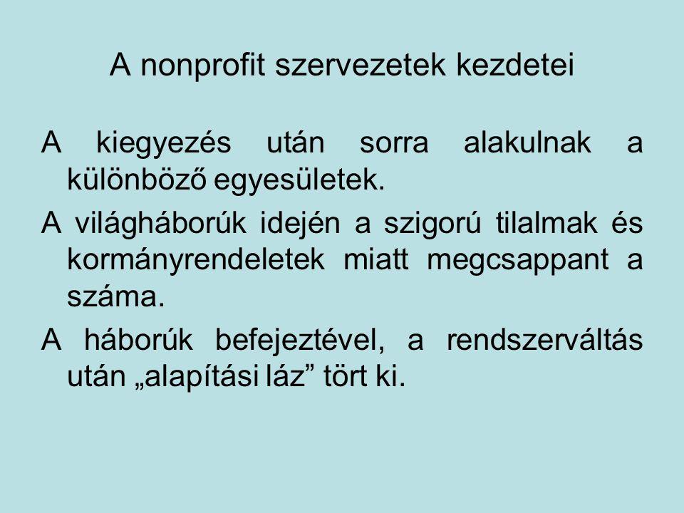 A nonprofit szervezetek kezdetei A kiegyezés után sorra alakulnak a különböző egyesületek.