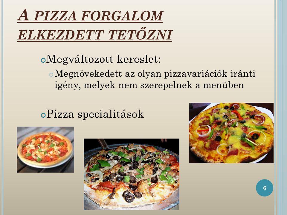 A PIZZA FORGALOM ELKEZDETT TETŐZNI Megváltozott kereslet: Megnövekedett az olyan pizzavariációk iránti igény, melyek nem szerepelnek a menüben Pizza specialitások 6