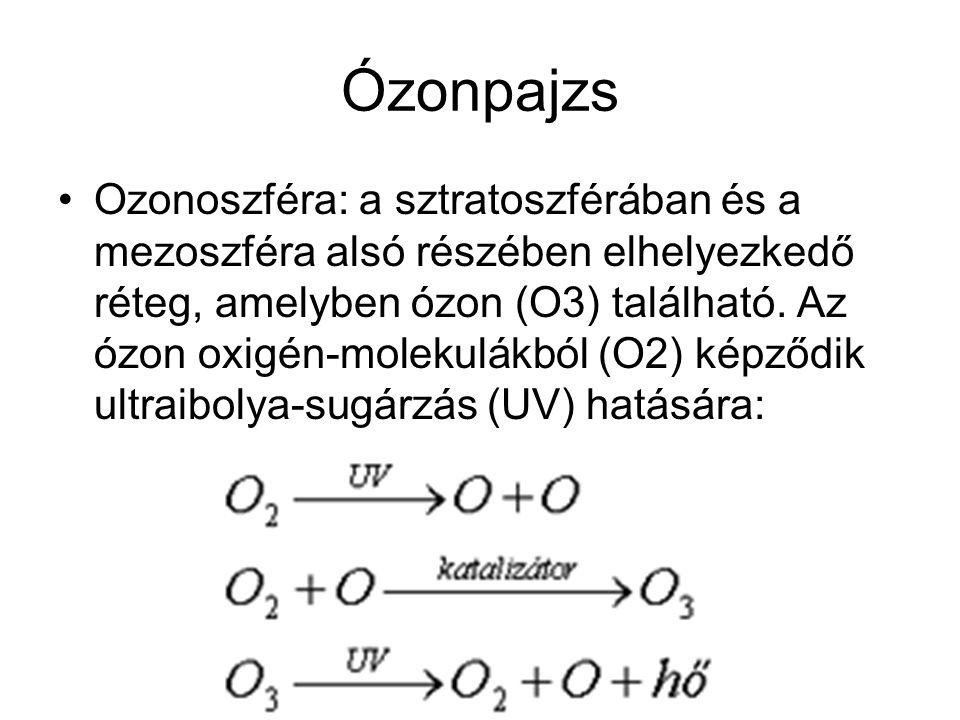 Ózonpajzs Ozonoszféra: a sztratoszférában és a mezoszféra alsó részében elhelyezkedő réteg, amelyben ózon (O3) található. Az ózon oxigén-molekulákból