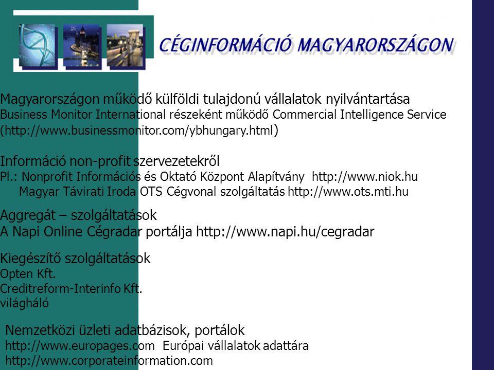 Magyarországon működő külföldi tulajdonú vállalatok nyilvántartása Business Monitor International részeként működő Commercial Intelligence Service (ht