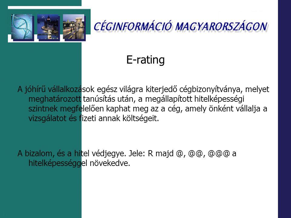 E-rating A jóhírű vállalkozások egész világra kiterjedő cégbizonyítványa, melyet meghatározott tanúsítás után, a megállapított hitelképességi szintnek