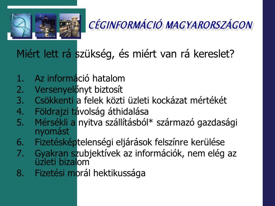 1.5 Az egyéb céginformációt szolgáltató rendszerek 1.Hagyományos és elektronikus periodikumok 2.Portálok, hírszolgálatok 3.Éves vállalati (üzleti) jelentések 4.Szakirodalmi és faktografikus információs rendszerek 5.Adósnyilvántartó rendszerek 6.Védjegyek és szabadalmak adatbázisai 7.Rangsorok, toplisták 8.Monitoring szolgáltatások 9.Magyarországon működő külföldi tulajdonú vállatok nyilvántatása 10.Tanúsított cégek adatbázisai 11.Információ non-profit szervezetekről 12.Aggregát-szolgáltatások 13.Kiegészítő szolgáltatások 14.Nemzetközi üzleti adatbázisok, portálok