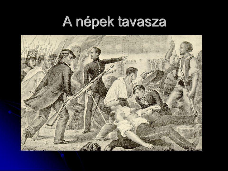 1848 tavaszán forradalmi hullám Európában 1848 tavaszán forradalmi hullám Európában Liberalizmus és a nacionalizmus eszméit követték Liberalizmus és a nacionalizmus eszméit követték Kirobbanás okai: rossz termésű évek Kirobbanás okai: rossz termésű évek ipari válság ipari válság A forradalom futótűzként terjedt A forradalom futótűzként terjedt Különbségek alakultak ki társadalmi, gazdasági és politikai téren Különbségek alakultak ki társadalmi, gazdasági és politikai téren A célkitűzések országonként eltértek A célkitűzések országonként eltértek