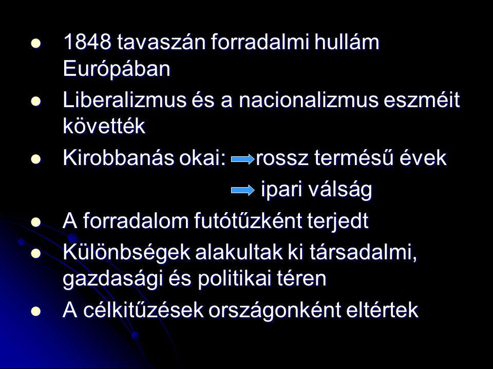 1848 tavaszán forradalmi hullám Európában 1848 tavaszán forradalmi hullám Európában Liberalizmus és a nacionalizmus eszméit követték Liberalizmus és a