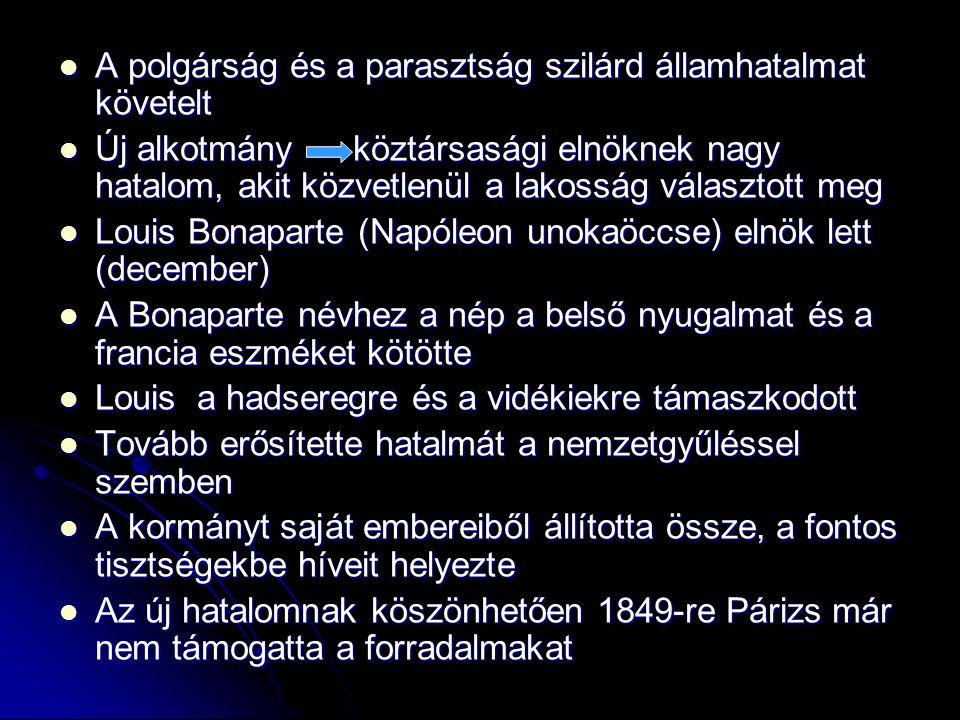 A polgárság és a parasztság szilárd államhatalmat követelt A polgárság és a parasztság szilárd államhatalmat követelt Új alkotmány köztársasági elnökn