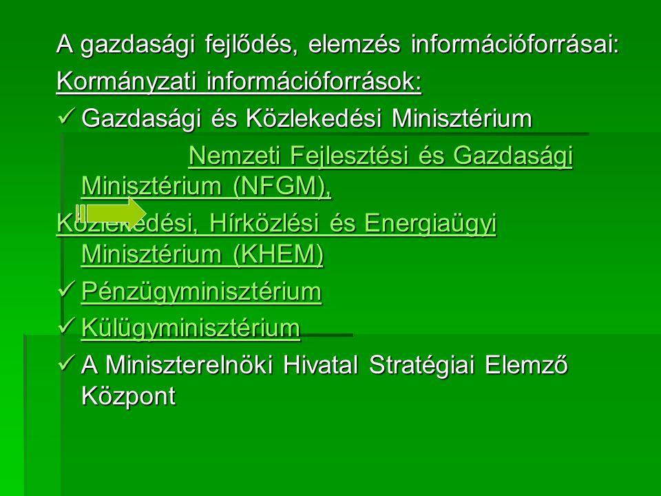 A gazdasági fejlődés, elemzés információforrásai: Kormányzati információforrások: Gazdasági és Közlekedési Minisztérium Gazdasági és Közlekedési Minis