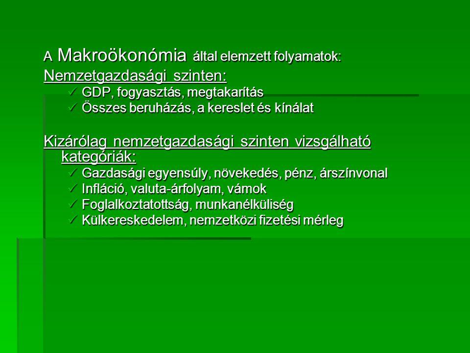 A Makroökonómia által elemzett folyamatok: Nemzetgazdasági szinten: GDP, fogyasztás, megtakarítás GDP, fogyasztás, megtakarítás Összes beruházás, a ke