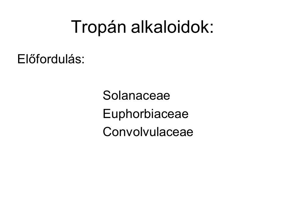 Tropán alkaloidok: Előfordulás: Solanaceae Euphorbiaceae Convolvulaceae
