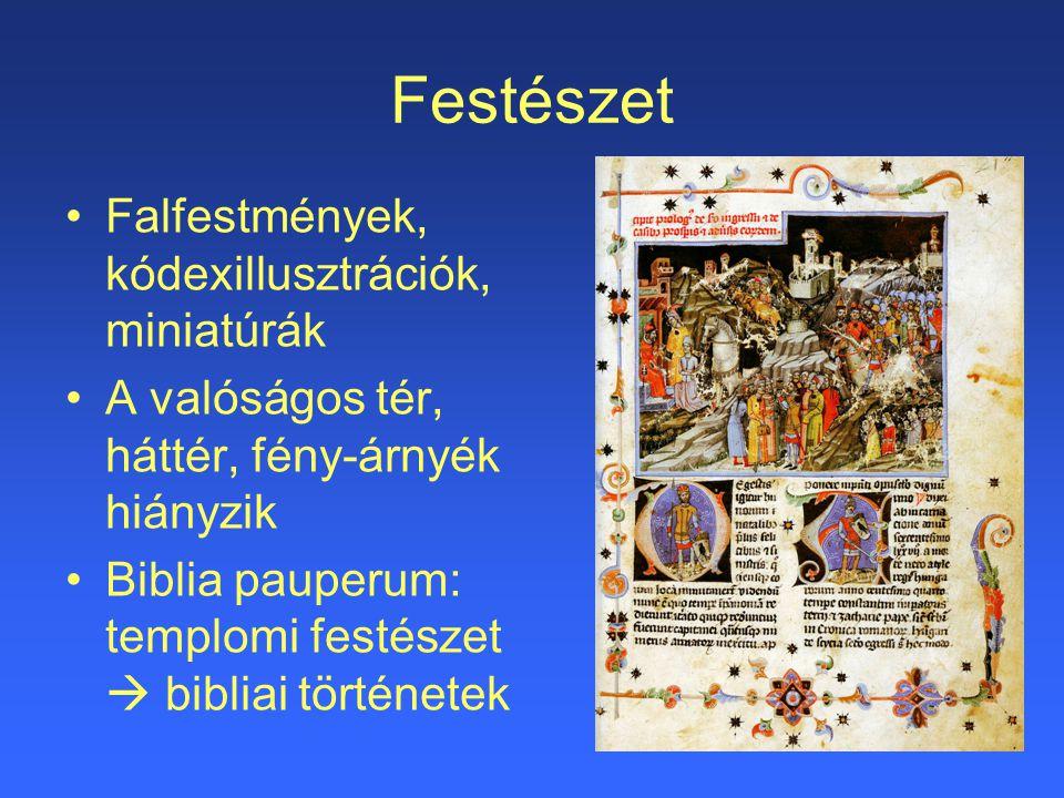 Festészet Falfestmények, kódexillusztrációk, miniatúrák A valóságos tér, háttér, fény-árnyék hiányzik Biblia pauperum: templomi festészet  bibliai tö