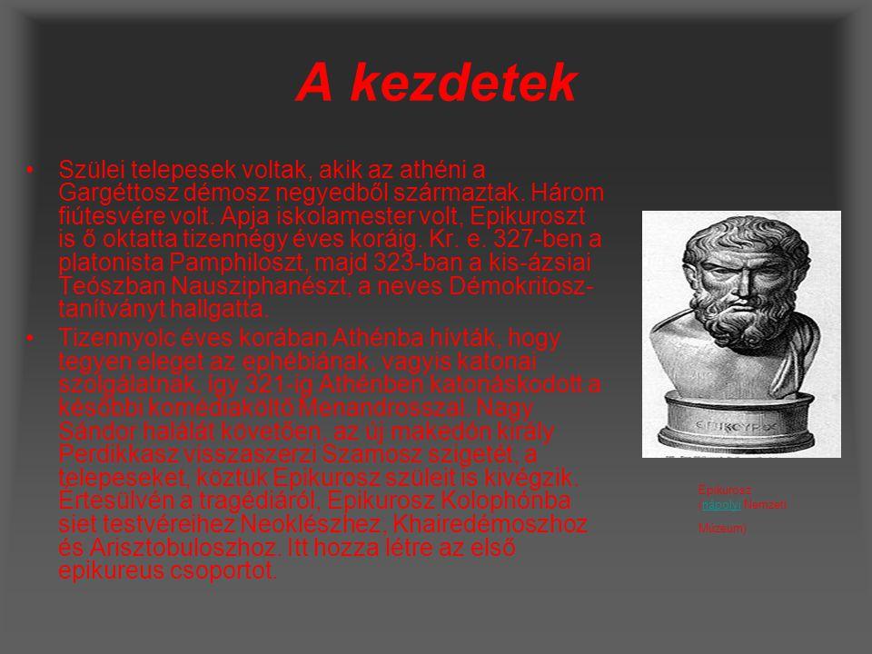 Munkássága iskolái Harminckét éves korában, 311-ben, a testvéreivel és rabszolgájával Mütilénébe költözött, ahol megalapította filozófiai iskoláját, azonban a platonisták, akik politikailag nagyon erősek voltak, nem tűrték meg, hogy elvonja a fiatalokat a vallástól és a politikától.
