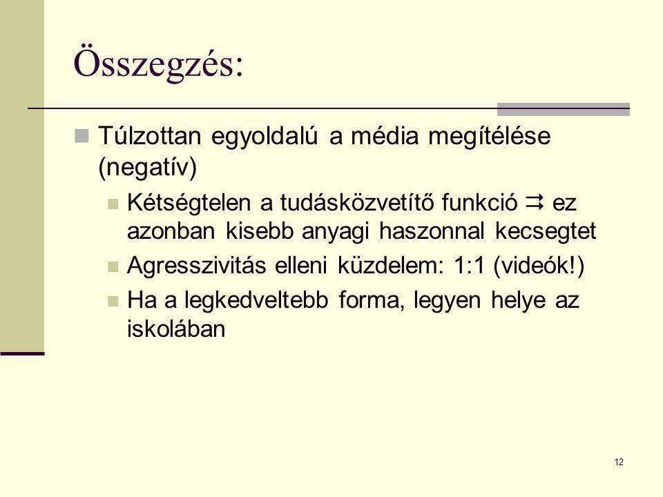 12 Összegzés: Túlzottan egyoldalú a média megítélése (negatív) Kétségtelen a tudásközvetítő funkció  ez azonban kisebb anyagi haszonnal kecsegtet Agr