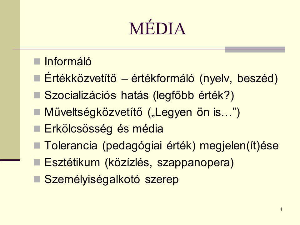 """4 Informáló Értékközvetítő – értékformáló (nyelv, beszéd) Szocializációs hatás (legfőbb érték?) Műveltségközvetítő (""""Legyen ön is…"""") Erkölcsösség és m"""
