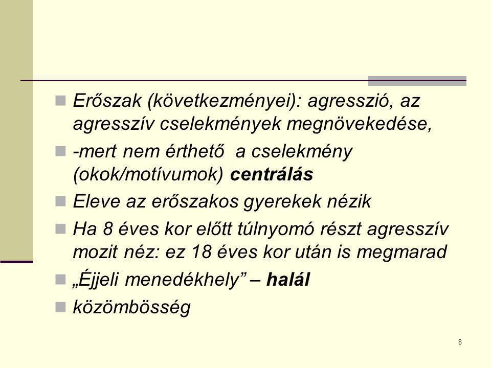 8 Erőszak (következményei): agresszió, az agresszív cselekmények megnövekedése, -mert nem érthető a cselekmény (okok/motívumok) centrálás Eleve az erő