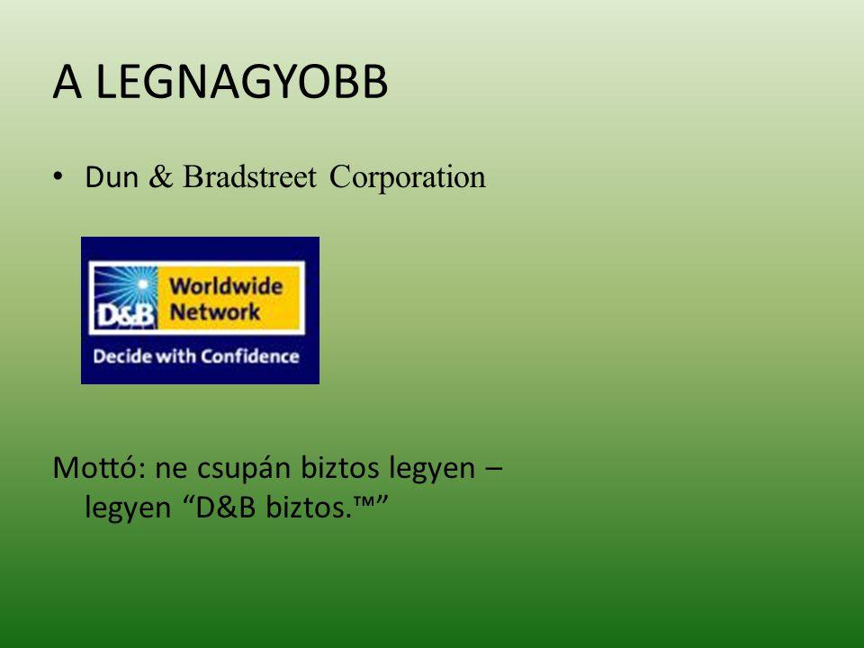 A LEGNAGYOBB Dun & Bradstreet Corporation Mottó: ne csupán biztos legyen – legyen D&B biztos.™