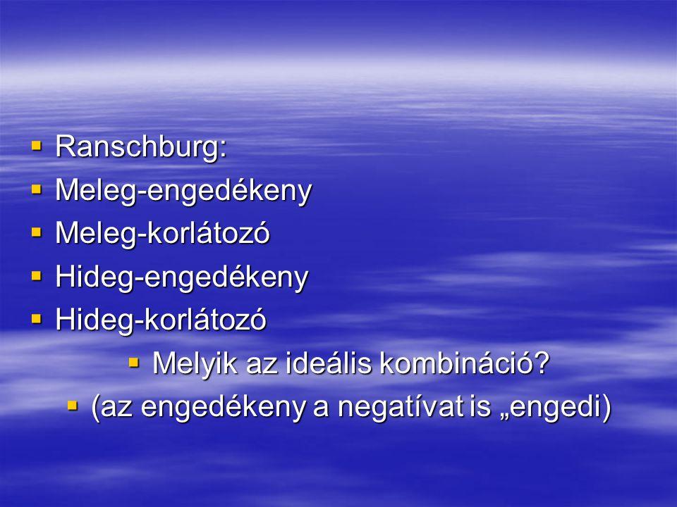  Ranschburg:  Meleg-engedékeny  Meleg-korlátozó  Hideg-engedékeny  Hideg-korlátozó  Melyik az ideális kombináció?  (az engedékeny a negatívat i