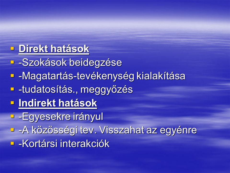  Direkt hatások  -Szokások beidegzése  -Magatartás-tevékenység kialakítása  -tudatosítás., meggyőzés  Indirekt hatások  -Egyesekre irányul  -A