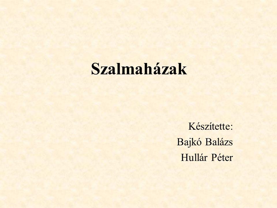 Szalmaházak Készítette: Bajkó Balázs Hullár Péter