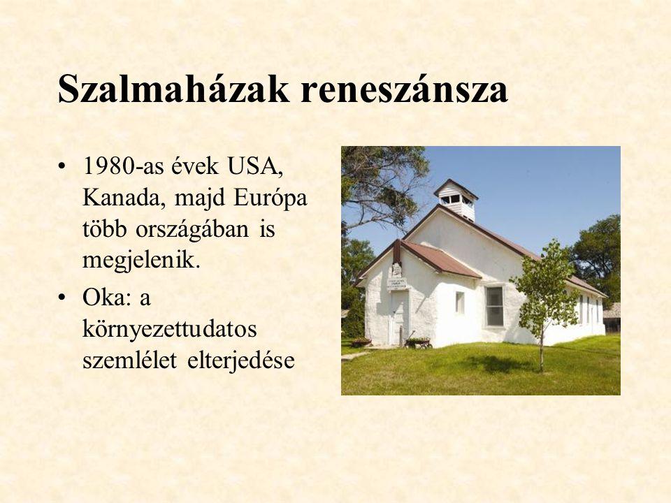 Szalmaházak reneszánsza 1980-as évek USA, Kanada, majd Európa több országában is megjelenik.