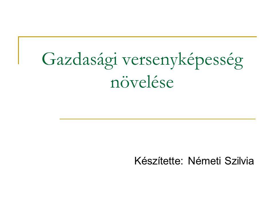 Gazdasági versenyképesség növelése Készítette: Németi Szilvia