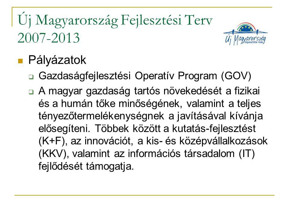 Új Magyarország Fejlesztési Terv 2007-2013 Pályázatok  Gazdaságfejlesztési Operatív Program (GOV)  A magyar gazdaság tartós növekedését a fizikai és a humán tőke minőségének, valamint a teljes tényezőtermelékenységnek a javításával kívánja elősegíteni.
