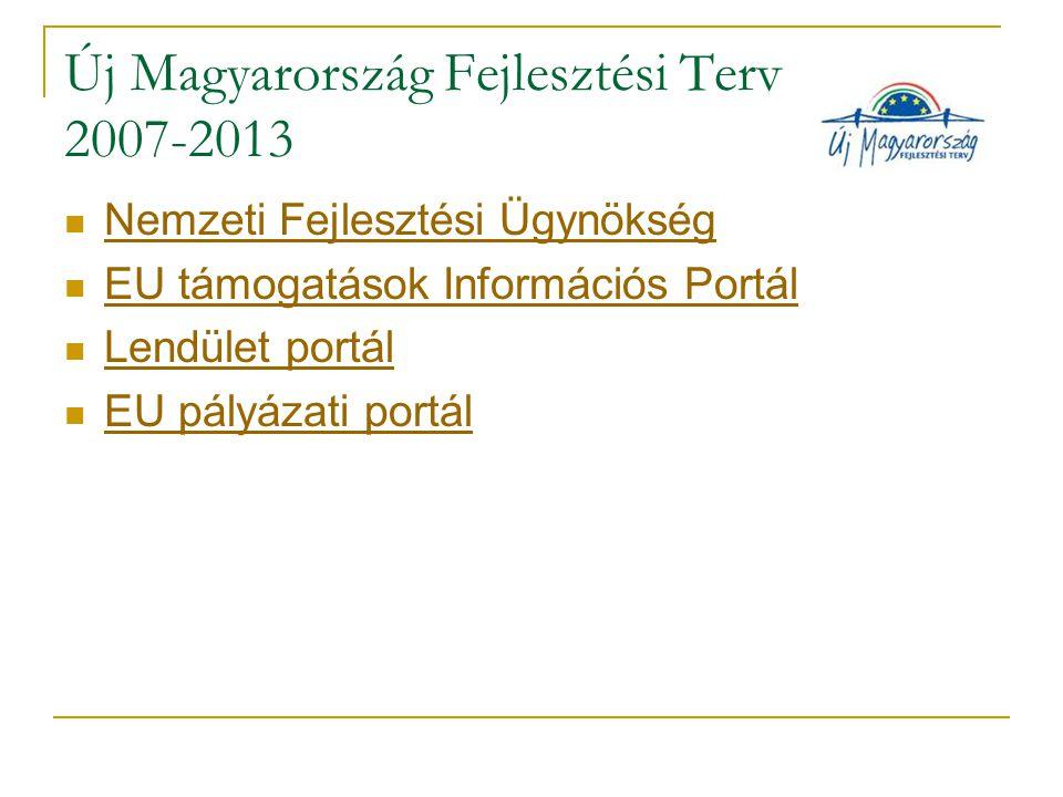 Új Magyarország Fejlesztési Terv 2007-2013 Nemzeti Fejlesztési Ügynökség EU támogatások Információs Portál Lendület portál EU pályázati portál