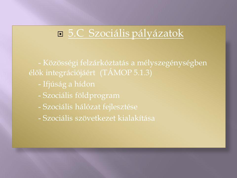  5.C Szociális pályázatok - Közösségi felzárkóztatás a mélyszegénységben élők integrációjáért (TÁMOP 5.1.3) - Ifjúság a hídon - Szociális földprogram - Szociális hálózat fejlesztése - Szociális szövetkezet kialakítása