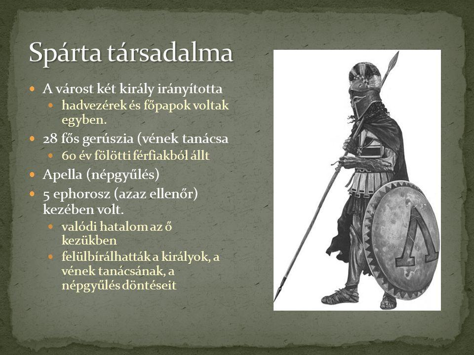 A várost két király irányította hadvezérek és főpapok voltak egyben. 28 fős gerúszia (vének tanácsa 60 év fölötti férfiakból állt Apella (népgyűlés) 5