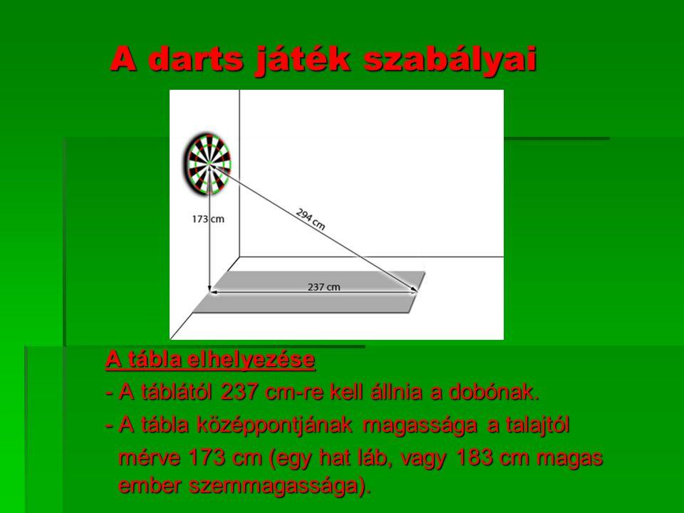 A darts játék szabályai A tábla elhelyezése - A táblától 237 cm-re kell állnia a dobónak. - A tábla középpontjának magassága a talajtól mérve 173 cm (