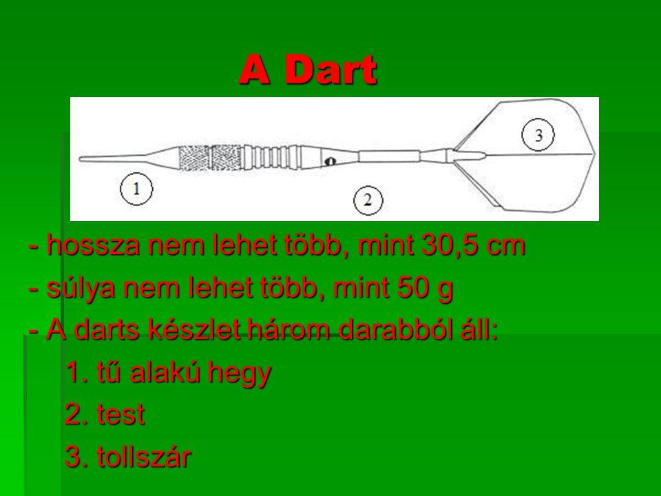 A Dart - hossza nem lehet több, mint 30,5 cm - súlya nem lehet több, mint 50 g - A darts készlet három darabból áll: 1. tű alakú hegy 2. test 3. tolls