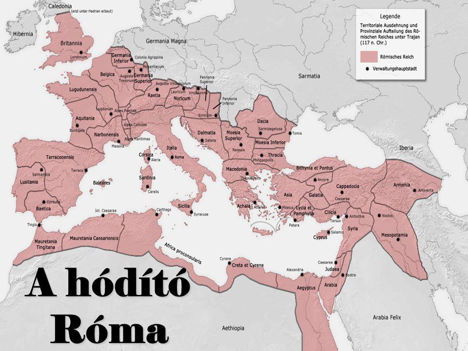 Róma nagyságának alapja – a terjeszkedési kényszer A patríciusok polgárjoga a földbirtokon alapult, s katonai kötelezettséggel járt, ahhoz, hogy gyerekei is rendelkezzenek e joggal, új földeket kellett megszerezni Földbirtok Polgárjog Katonáskodás A plebejusok segédcsapatként vettek részt a harcokban, de fokozatosan ők lettek a legfontosabb katonai réteg, ezért követelésekkel léphettek fel: polgárjog a legfontosabb