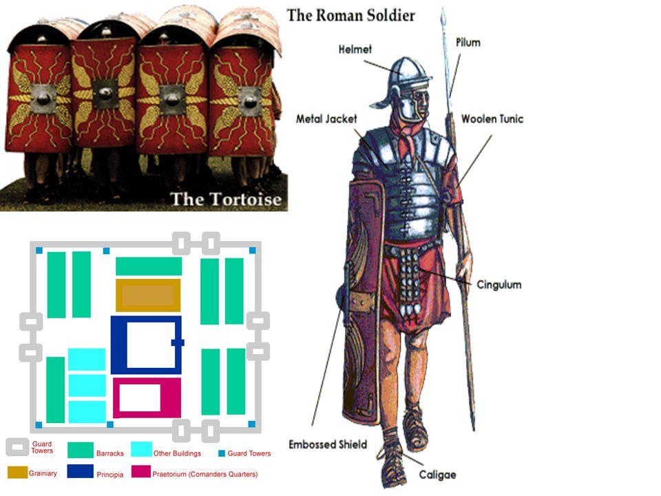 A római hadsereg Szakítanak a falanx harcmodorral Sakktáblaszerű alakzatot vesznek fel, három sorban: gyorsabban reagálhatnak az ellenség mozdulataira A leghátsó sorban állnak a legtapasztal- tabb katonák, ők a harc végén kerülnek bevetésre