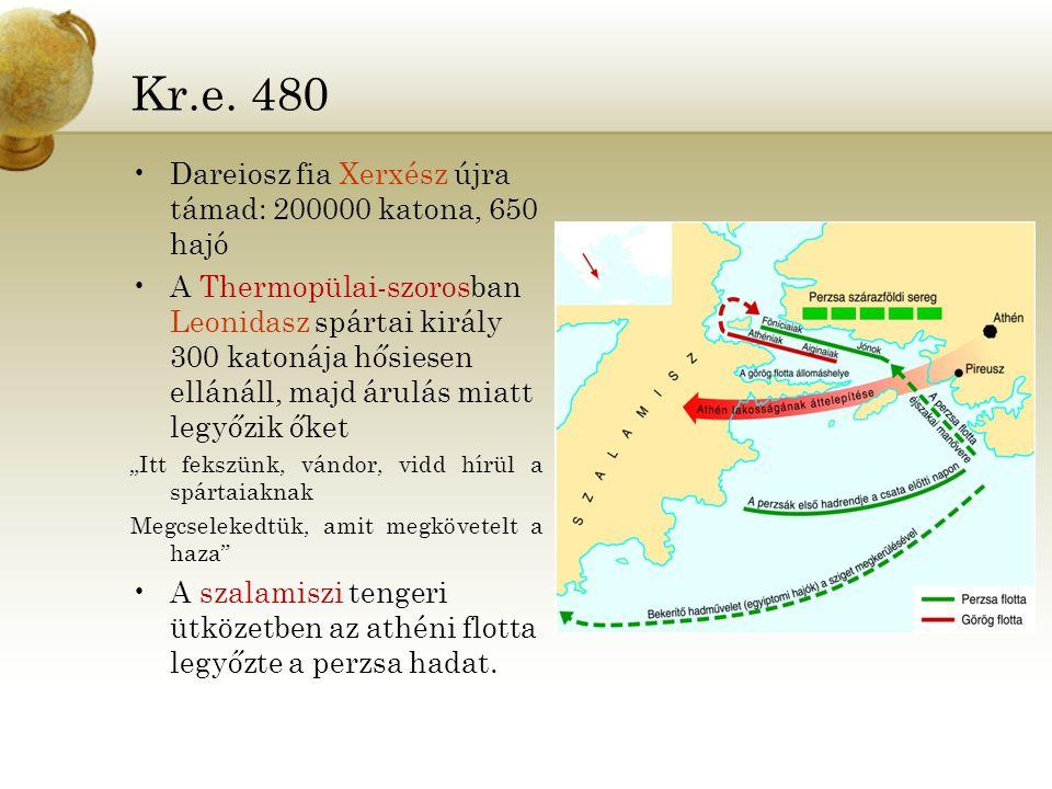 Kr.e. 480 Dareiosz fia Xerxész újra támad: 200000 katona, 650 hajó A Thermopülai-szorosban Leonidasz spártai király 300 katonája hősiesen ellánáll, ma