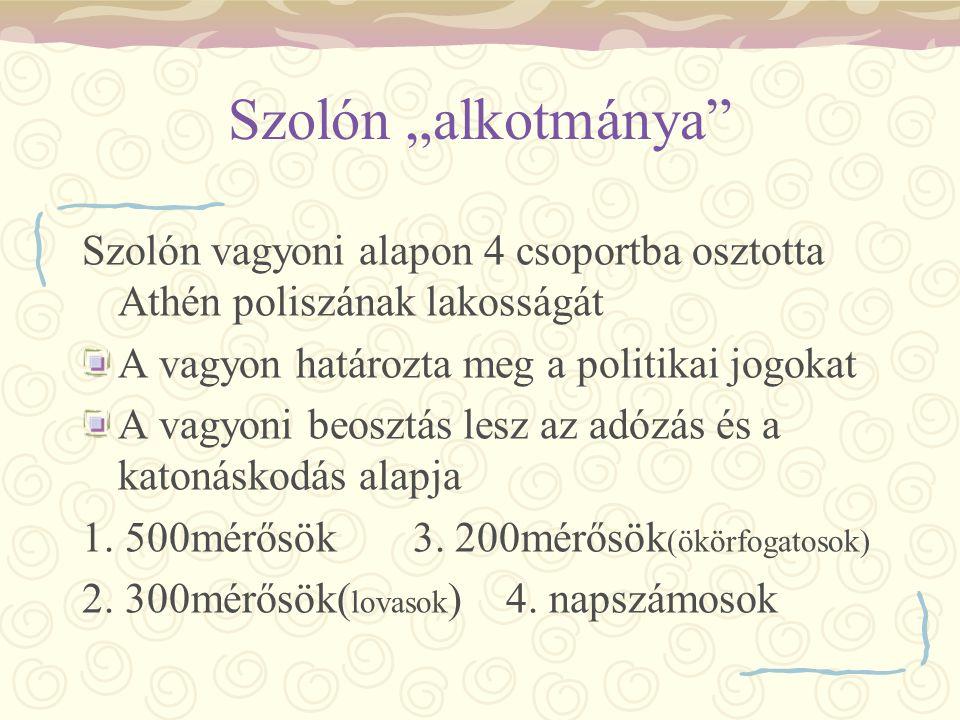 Athén politikai intézményei ekklészia: népgyűlés(20év feletti athéni polgárok) héliaia: esküdtbíróság (6000fő – sorsolással) bulé: 500-ak tanácsa (előtanácskozó szerv) Areioszpagosz tanácsa (volt arkhónok tanácsa) - a végrehajtás, a törvény őrei sztratégosz: katonai tisztség(10fő) tényleges vezetők arkhón: legfontosabb hivatali tisztség (9fő)