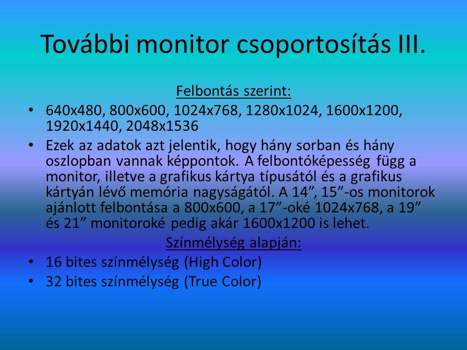 További monitor csoportosítás III. Felbontás szerint: 640x480, 800x600, 1024x768, 1280x1024, 1600x1200, 1920x1440, 2048x1536 Ezek az adatok azt jelent