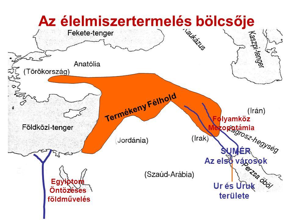 Az élelmiszertermelés bölcsője Termékeny Félhold Ur és Uruk területe SUMÉR Az első városok Folyamköz Mezopotámia Egyiptom Öntözéses földművelés
